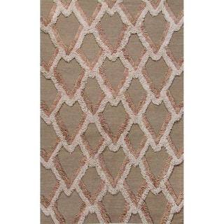 National Geographic Flatweave Geometric Pattern Aluminum/Moon Rock Wool (8x10) Area Rug