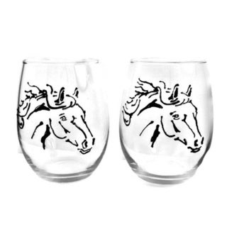 Atkinson Creations Elegant Black Horses 20 oz. Hand-painted Equine Stemless Wine Glasses (Set of 2)