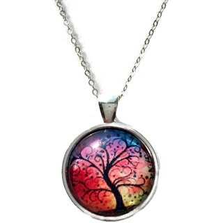 Atkinson Creations Rainbow 'Tree of Life' Glass Dome Circle Necklace