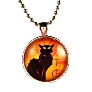 Atkinson Creations Orange Halloween Le Chat Noir 'The Black Cat' Glass Dome Pendant Necklace