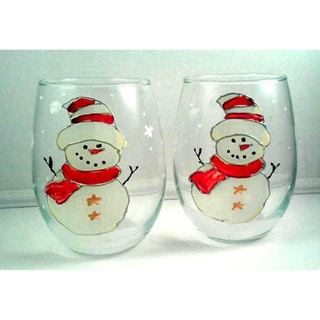 Atkinson Creations Holiday Red Snowman Hand-painted 20-ounce Stemless Wine Glasses (Set of 2)
