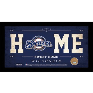 Milwaukee Brewers 10x20 Home Sweet Home Sign with Game-Used Dirt from Miller Park