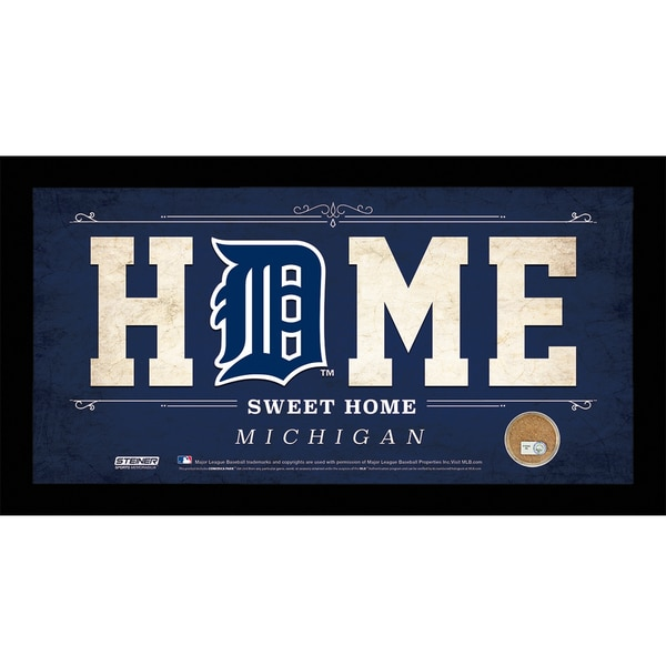 Detroit Tigers 10x20 Home Sweet Home Sign with Game-Used Dirt from Comerica Park