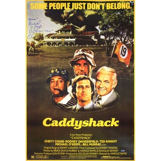 """Cindy Morgan/Michael Okeefe/Chevy Chase Triple Signed CaddyShack Movie Poster w/ """"Lacey, Noonan""""Insc. 23x35.5"""