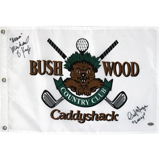 "Cindy Morgan, Michael Okeefe Dual Signed CaddyShack Golf Pin Flag w/ ""Lacey, Noonan""Insc."