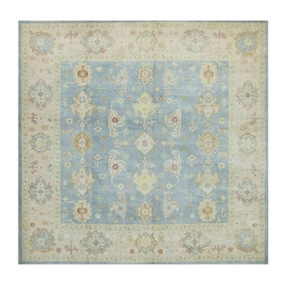 Herat Oriental Afghan Hand-knotted Tribal Vegetable Dye Oushak Light Blue/ Ivory Wool Rug (8'9 x 8'9