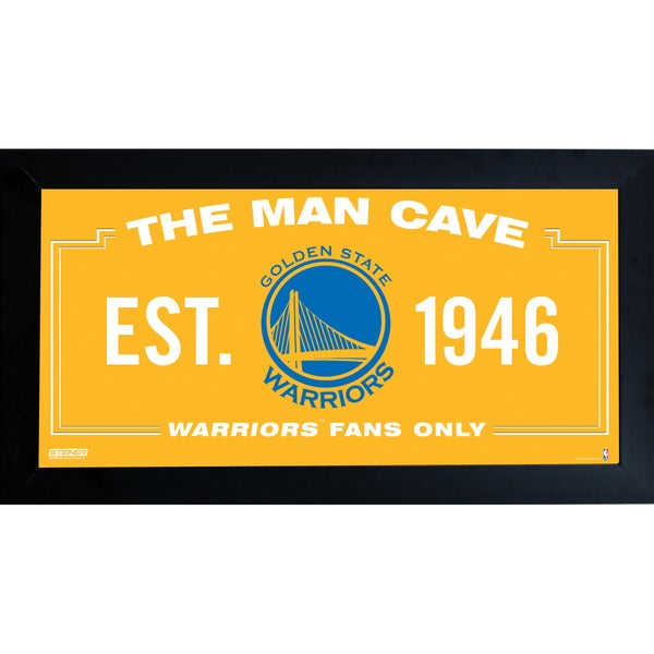 Golden State Warriors Man Cave Sign 10x20 Framed Photo