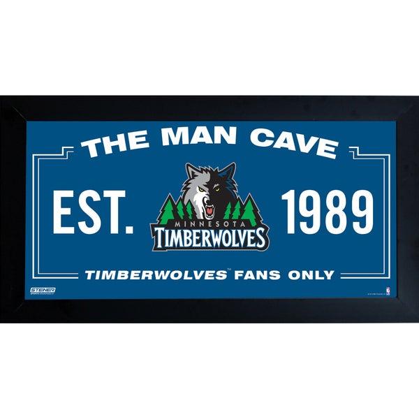 Minnesota Timberwolves Man Cave Sign 10x20 Framed Photo