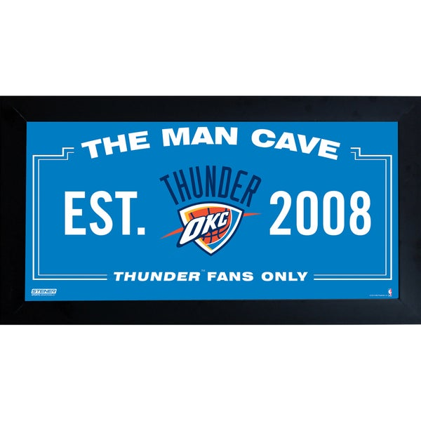Oklahoma City Thunder Man Cave Sign 10x20 Framed Photo