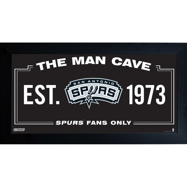 San Antonio Spurs Man Cave Sign 10x20 Framed Photo