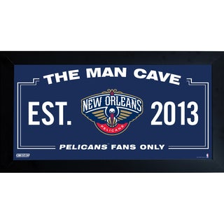 New Orleans Pelicans Man Cave Sign 10x20 Framed Photo