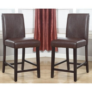 ABBYSON LIVING Laura Brown Bonded Leather Counter Stool (Set of 2)