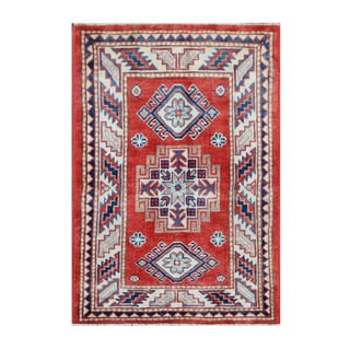 Herat Oriental Afghan Hand-knotted Tribal Vegetable Dye Super Kazak Wool Rug (2'1 x 3')