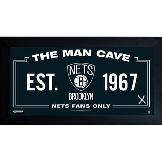 Brooklyn Nets Man Cave Sign 10x20 Framed Photo w/ Game used Net