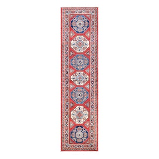 Herat Oriental Afghan Hand-knotted Tribal Vegetable Dye Super Kazak Red/ Ivory Wool Rug (2'7 x 10'1)
