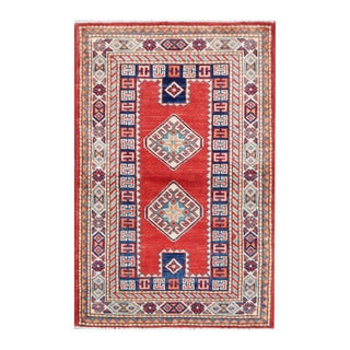 Herat Oriental Afghan Hand-knotted Tribal Vegetable Dye Super Kazak Wool Rug (2'7 x 3'10)