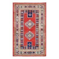 Herat Oriental Afghan Hand-knotted Tribal Vegetable Dye Super Kazak Wool Rug (2'6 x 4'1)