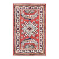 Herat Oriental Afghan Hand-knotted Tribal Vegetable Dye Super Kazak Wool Rug (2'7 x 4'1) - 2'7 x 4'1