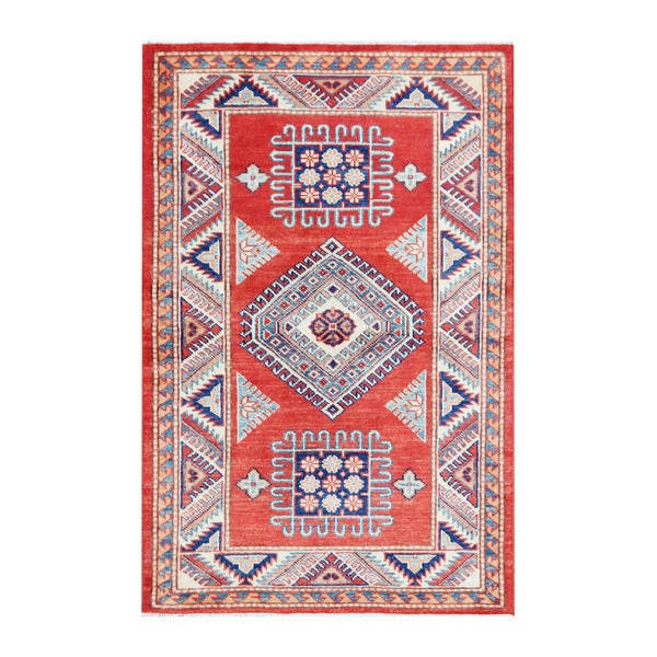 Herat Oriental Afghan Hand-knotted Tribal Vegetable Dye Super Kazak Wool Rug (3' x 4'8)