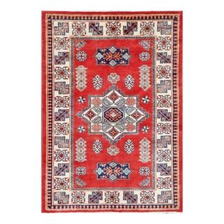 Herat Oriental Afghan Hand-knotted Tribal Super Kazak Wool Rug (4' x 5'9)