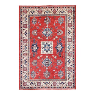 Herat Oriental Afghan Hand-knotted Tribal Super Kazak Red/ Ivory Wool Rug (4'11 x 7'5)