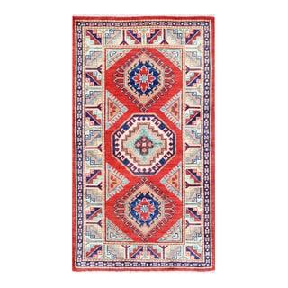Herat Oriental Afghan Hand-knotted Tribal Vegetable Dye Super Kazak Wool Rug (2'10 x 5'1)