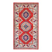 Herat Oriental Afghan Hand-knotted Tribal Super Kazak Wool Rug - 2'11 x 5'2