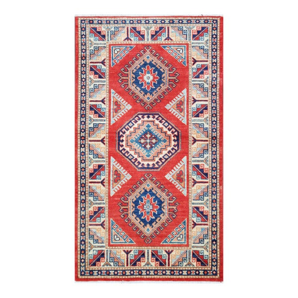 Herat Oriental Afghan Hand-knotted Tribal Super Kazak Wool Rug - 2'9 x 5'