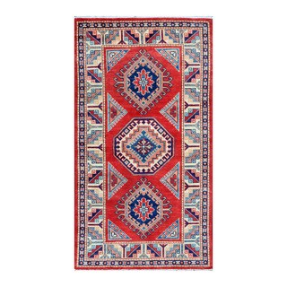 Herat Oriental Afghan Hand-knotted Tribal Super Kazak Wool Rug (3' x 5'4)