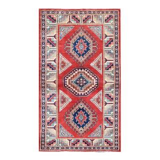 Herat Oriental Afghan Hand-knotted Tribal Super Kazak Wool Rug (2'10 x 4'11)