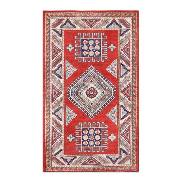 Handmade Herat Oriental Afghan Tribal Super Kazak Wool Rug (Afghanistan) - 2'11 x 5'