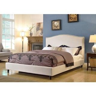 ABBYSON LIVING Roxbury Ivory Linen Platform Upholstered Bed