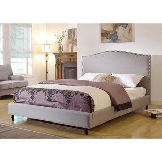 ABBYSON LIVING Roxbury Grey Linen Platform Upholstered Bed