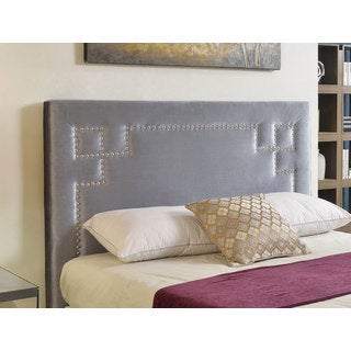 Abbyson Deco Grey Velvet Nailhead Trim Upholstered Headboard
