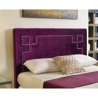 Abbyson Deco Purple Velvet Nailhead Trim Upholstered Headboard