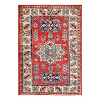 Herat Oriental Afghan Hand-knotted Tribal Super Kazak Wool Rug (4'1 x 5'10)