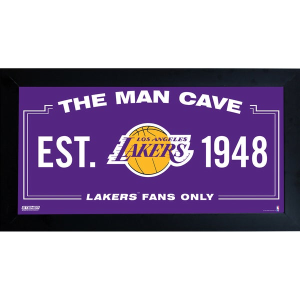 Los Angeles Lakers Man Cave Sign 10x20 Framed Photo