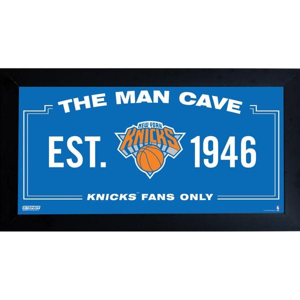 New York Knicks Man Cave Sign 10x20 Framed Photo