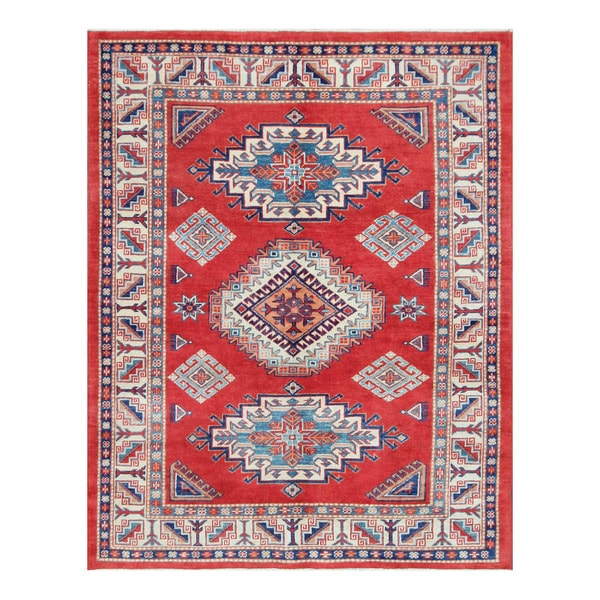 Herat Oriental Afghan Hand-knotted Tribal Super Kazak Wool Rug (4'7 x 5'11) - 4'7 x 5'11