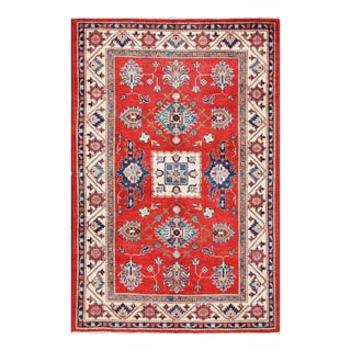Herat Oriental Afghan Hand-knotted Tribal Super Kazak Red/ Ivory Wool Rug (4'6 x 7')