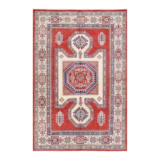 Herat Oriental Afghan Hand-knotted Tribal Super Kazak Red/ Ivory Wool Rug (4'11 x 7'3)