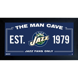 Utah Jazz Man Cave Sign 10x20 Framed Photo