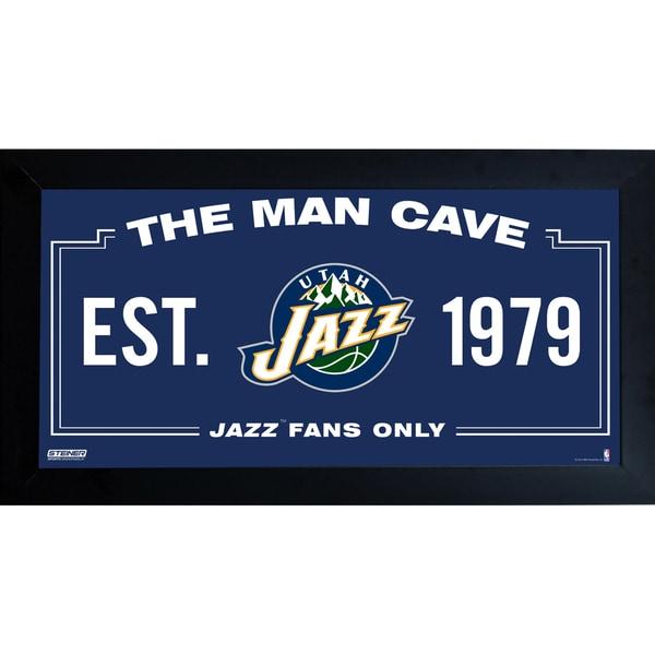 Utah Jazz Man Cave Sign 10x20 Framed Photo