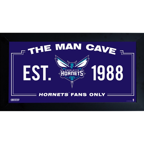 Charlotte Hornets Man Cave Sign 10x20 Framed Photo