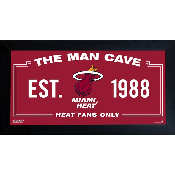 Miami Heat Man Cave Sign 10x20 Framed Photo