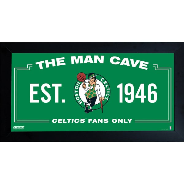 Boston Celtics Man Cave Sign 10x20 Framed Photo