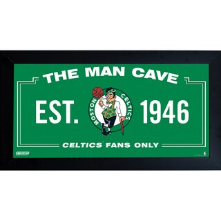 Boston Celtics Man Cave Sign 10x20 Framed Photo