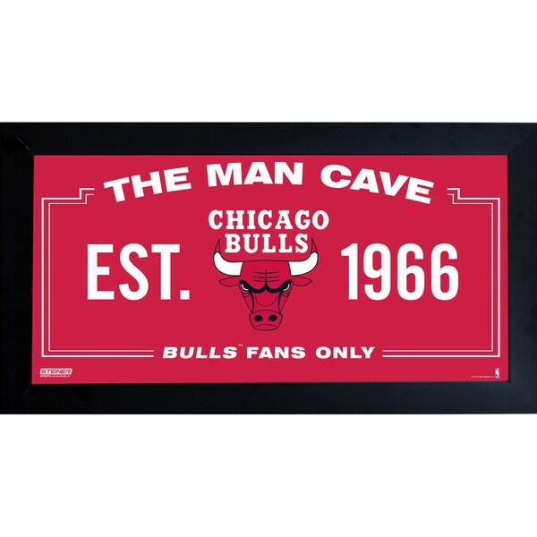 Chicago Bulls Man Cave Sign 10x20 Framed Photo