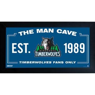 Minnesota Timberwolves Man Cave Sign 6x12 Framed Photo