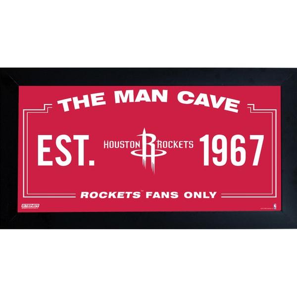 Houston Rockets Man Cave Sign 6x12 Framed Photo